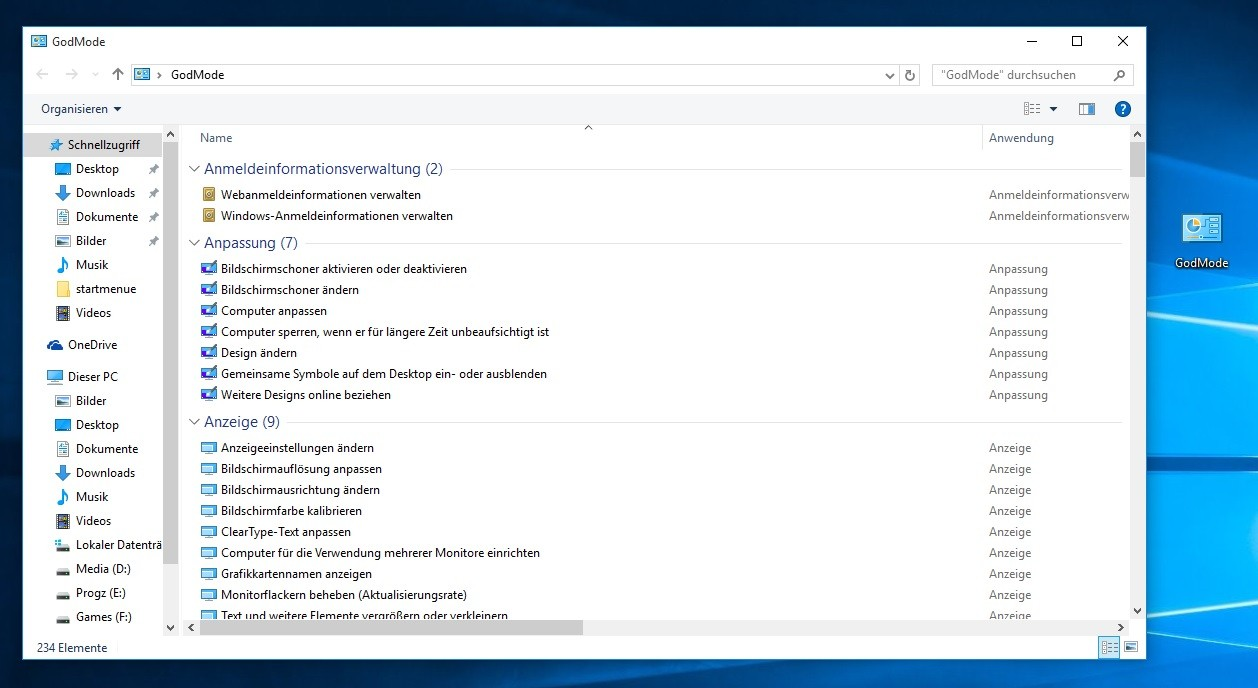 Den Godmode in Windows 10 aktivieren