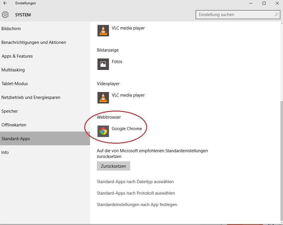 Google als Standardsuchmaschine in Windows 10 einrichten