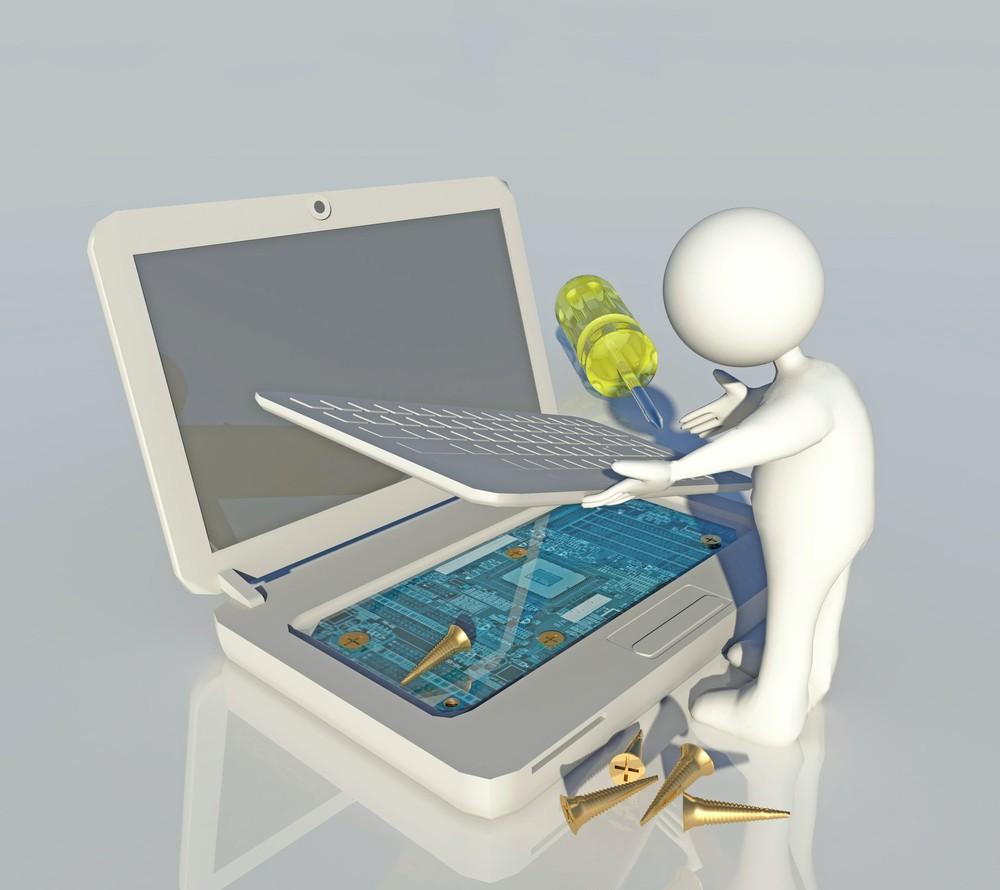 3D-Bild einer Figur, die einen Laptop repariert