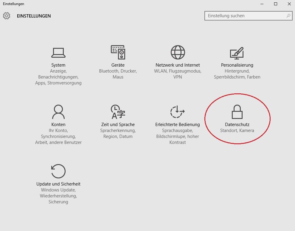 Windows 10 Datenschutzeinstellungen ändern