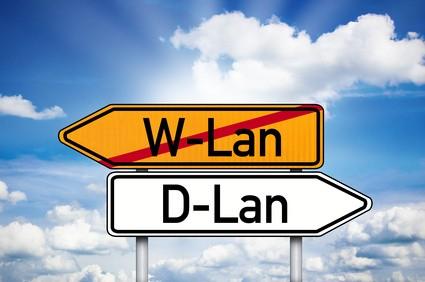 Wegweiser mit W-Lan und D-Lan